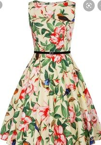 GRACE KARIN floral bird flare dress